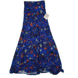NWT LULAROE Blue Floral Striped Maxi Skirt XXS